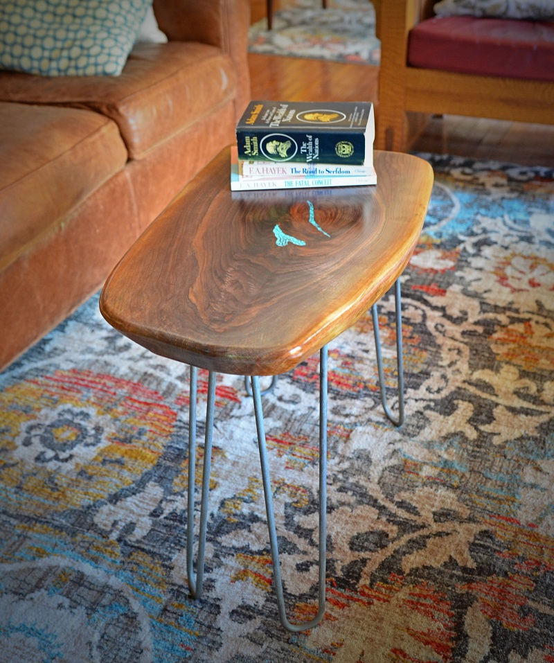 Black Walnut End Table With Turquoise Inlay