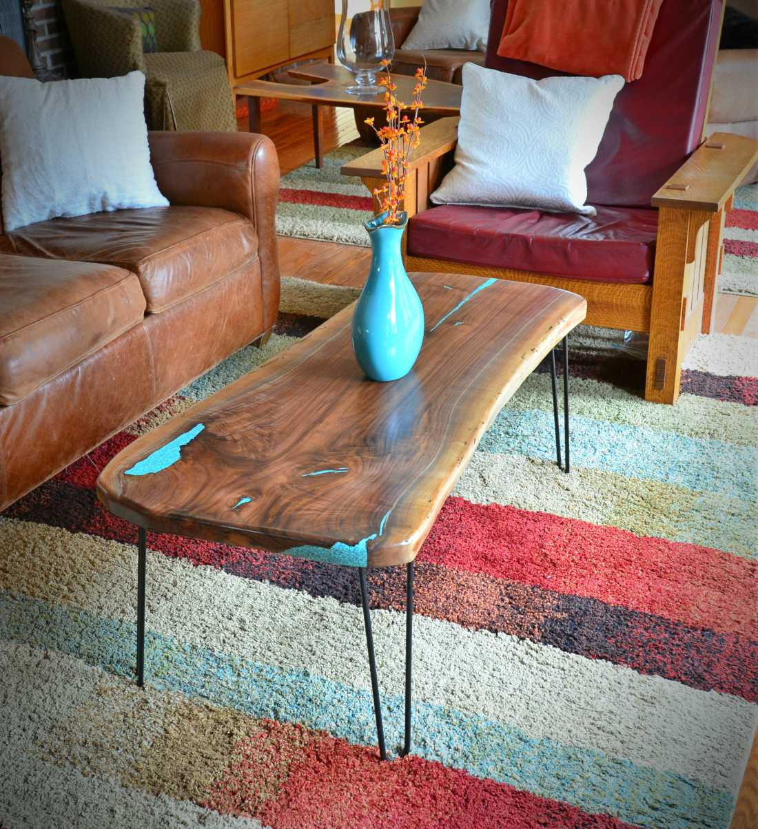 American Elm Coffee Table With Turquoise Inlay