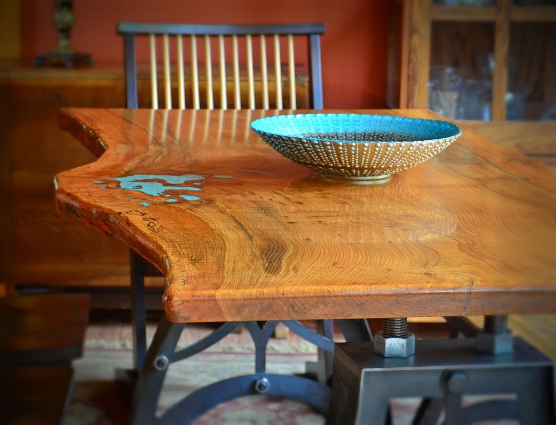 White Oak Dining Table With Turquoise Inlay
